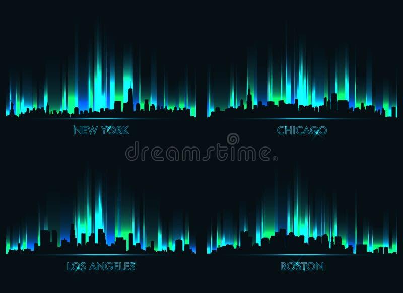 Städer för neonhorisontamerikan vektor illustrationer
