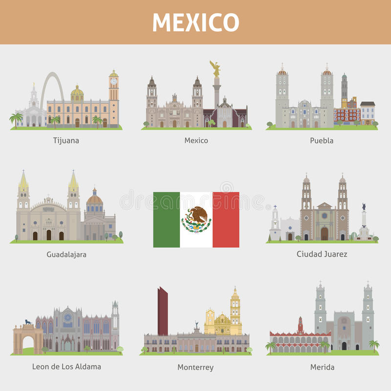 Städer i Mexico stock illustrationer