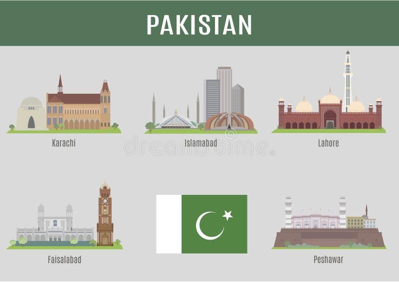 Städer i Pakistan vektor illustrationer
