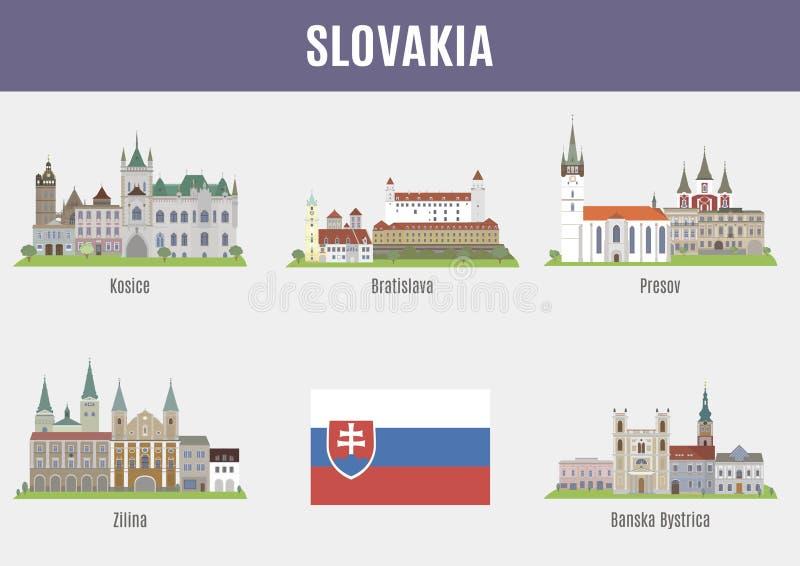 Städer i Slovakien stock illustrationer