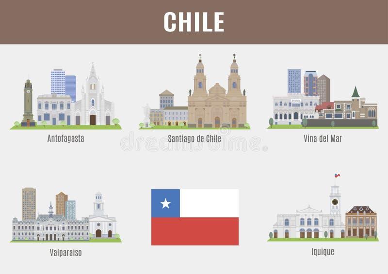 Städte in Chile lizenzfreie abbildung