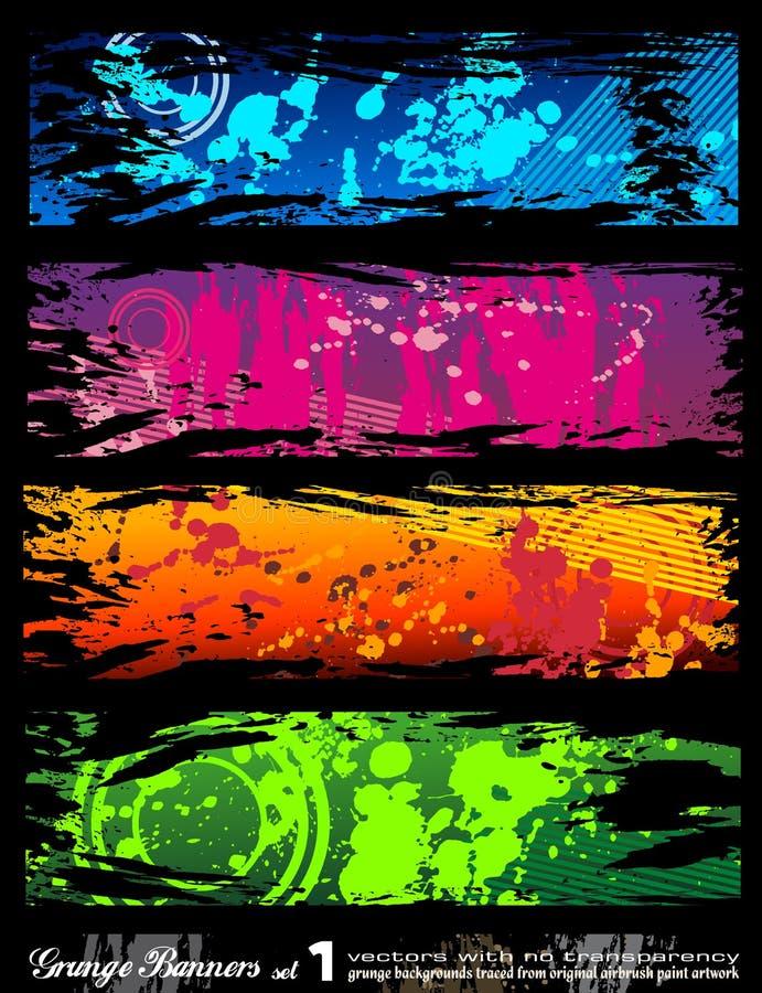 Städtische Art Grunge Fahnen mit Regenbogenfarben stock abbildung