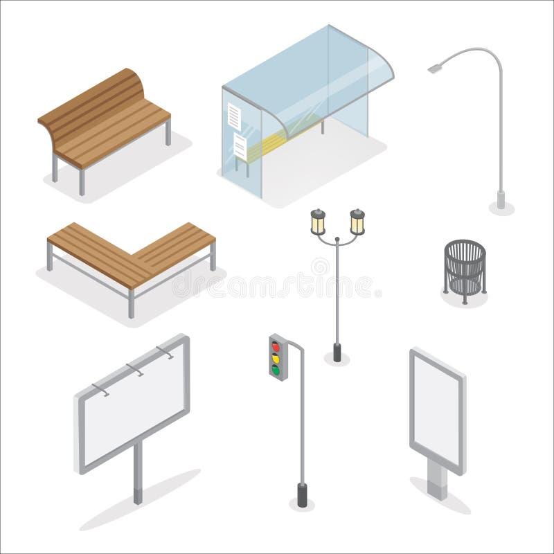 städtische Gegenstände Getrennt auf weißem Hintergrund Stadtbank Leeren Sie Auslegungschablone für das Einbrennen Lokalisierte Ge stock abbildung