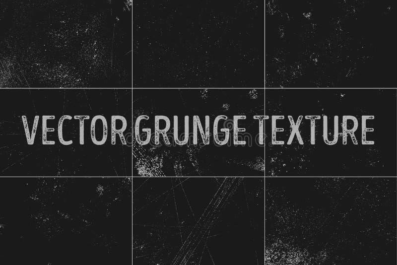 9 städtische Hintergründe des Schmutzes Beschaffenheitsvektorstaub-Bedrängniskorn Grungy Effekt Abstrakt, geplätschert, schmutzig vektor abbildung
