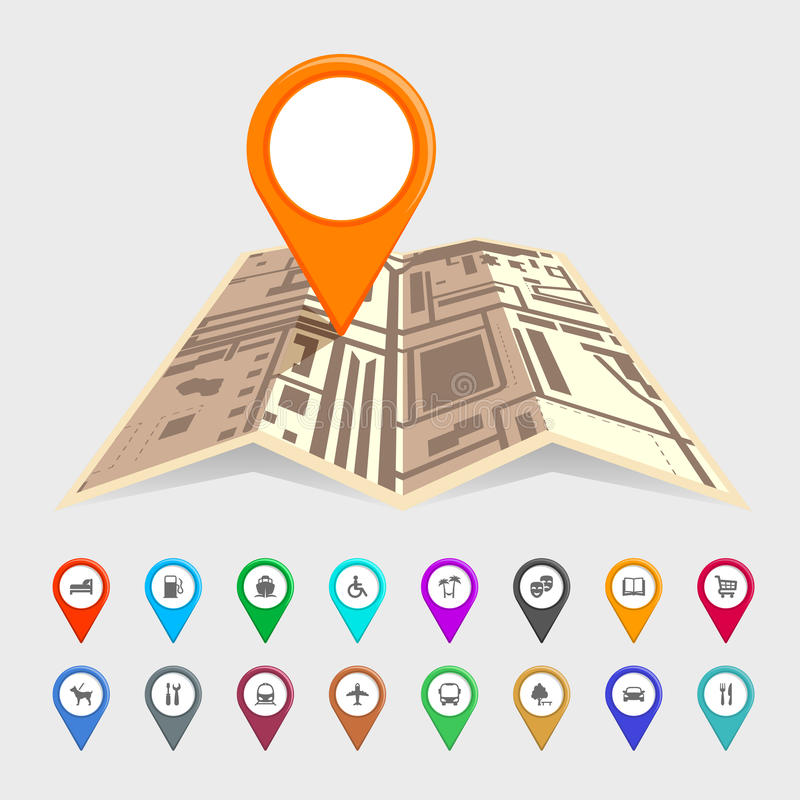 Städtische Karte mit einem Satz Zeigerikonen stock abbildung