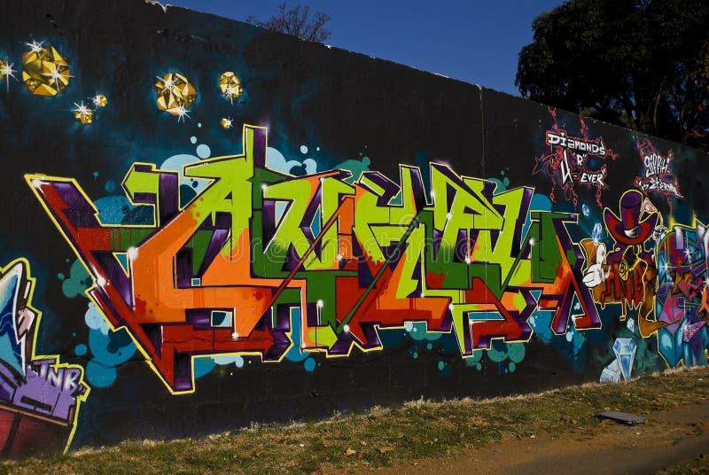 Städtische Kunst - Graffiti-Wand stockbilder