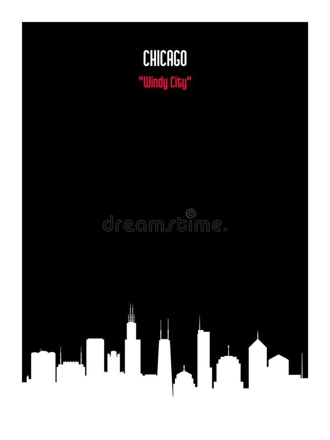 Städtische Skyline Chicagos des weißen Schattenbildes auf schwarzem Hintergrund lizenzfreie abbildung