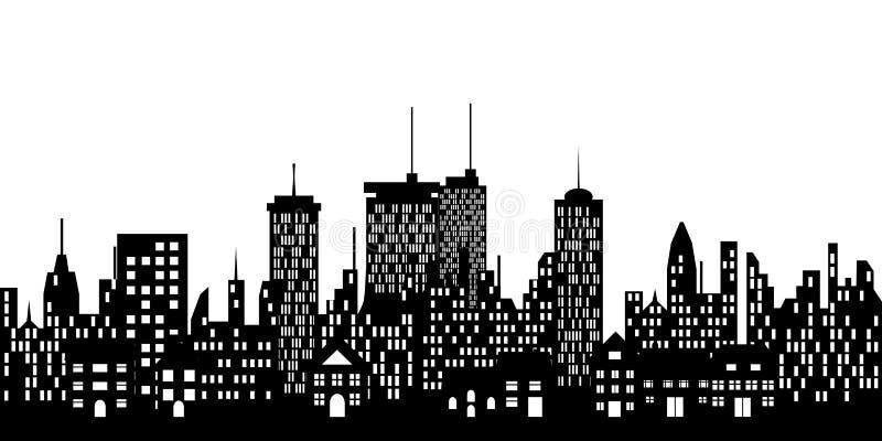 Städtische Skyline einer Stadt lizenzfreie abbildung