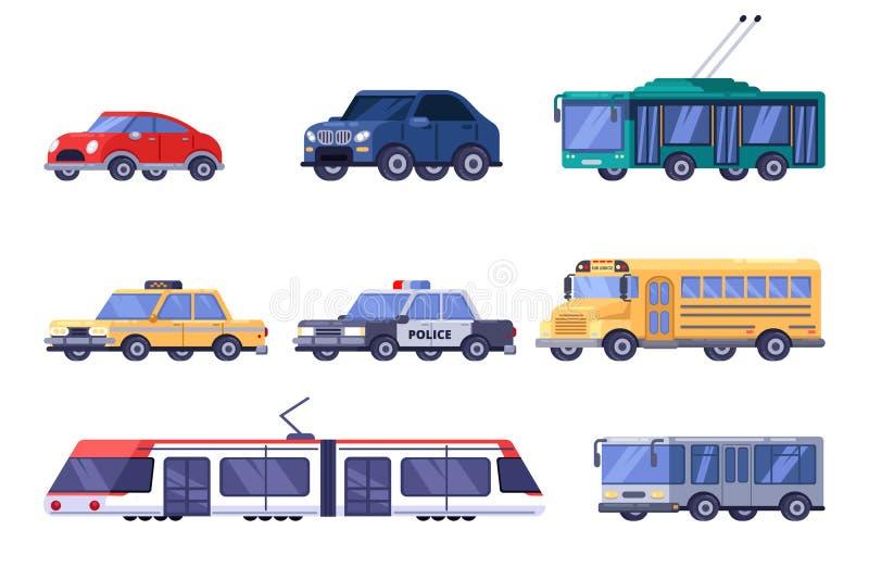 Städtische Stadtöffentlichkeit und persönlicher Transportsatz Flache Fahrzeugillustration des Vektors Auto, Tram, Bus, Oberleitun lizenzfreie abbildung