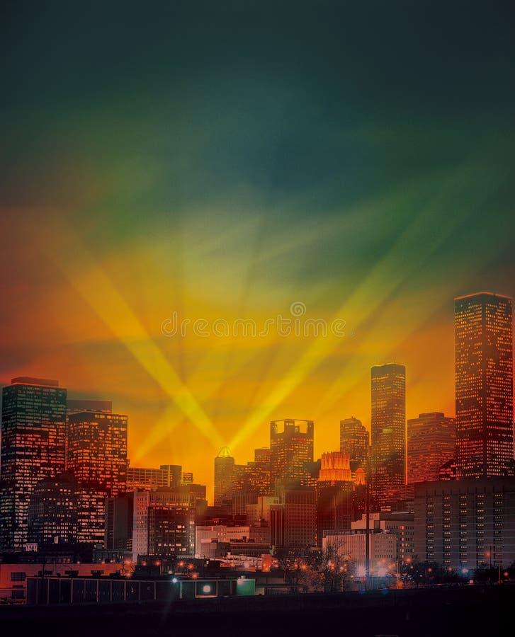 Städtische Stadt bis zum Night lizenzfreies stockfoto