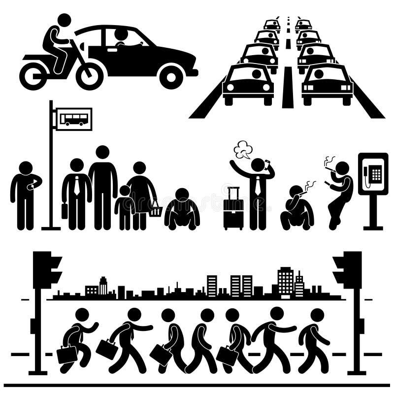 Städtische Stadt-Leben-besetzte hektische Verkehrs-Piktogramme lizenzfreie abbildung