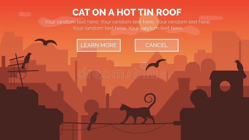 Städtische sundawn Szene mit Katze auf Draht stock abbildung