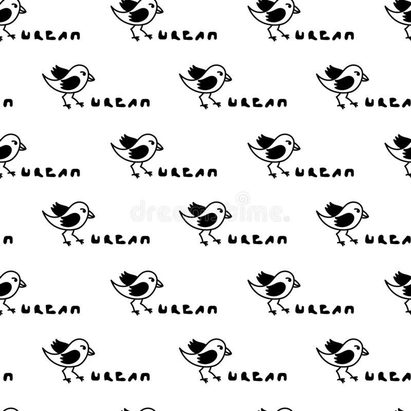 Städtische Vögel Handschrift Nahtloses Muster Flachbild-Cartoon-Charaktergestaltung lizenzfreie abbildung
