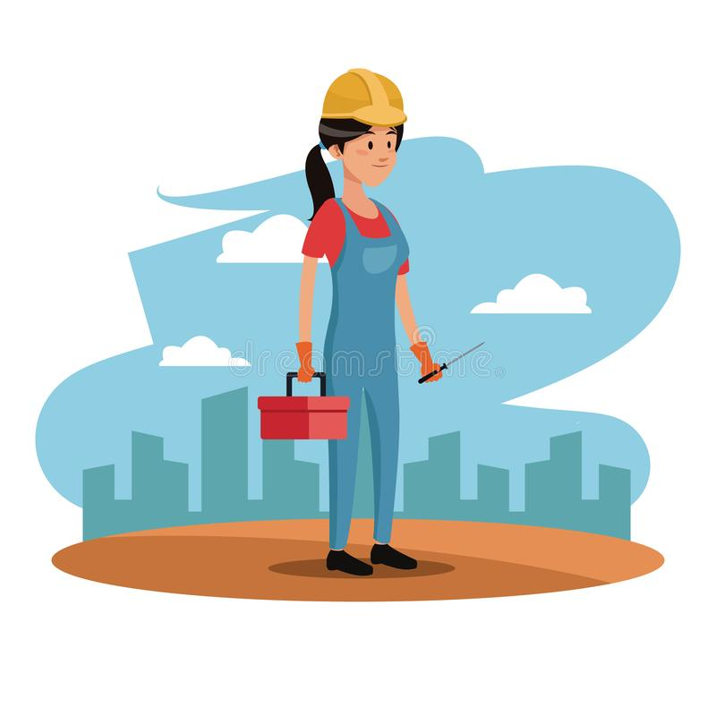 Städtischer Hintergrund Charakterfrauenangestellt-Arbeitskraftbau Toolkit stock abbildung