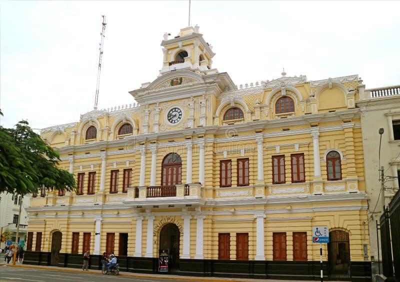 Städtischer Palast, Betäubungs-Markstein im Herzen von Chiclayo, Lambayeque, Nord-Peru lizenzfreie stockbilder