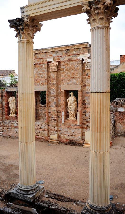Städtischer Roman Forum von Emerita Augusta, Mérida, Extremadura, Spanien stockfotografie