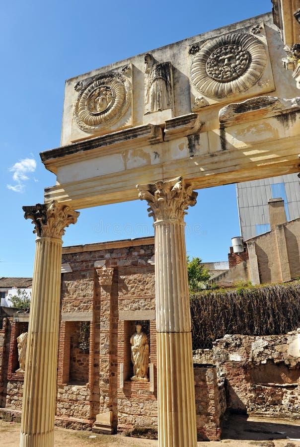 Städtischer Roman Forum von Emerita Augusta, Mérida, Extremadura, Spanien lizenzfreie stockfotos
