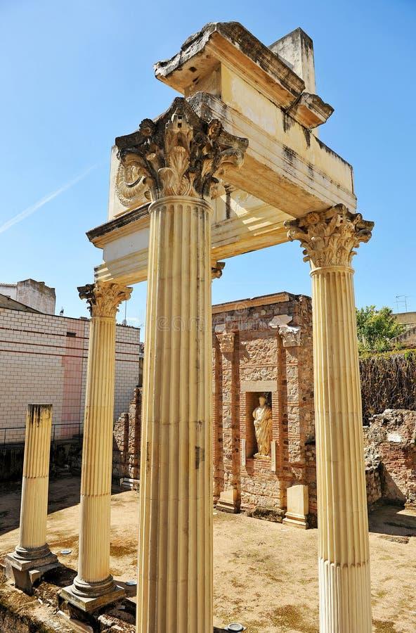 Städtischer Roman Forum von Emerita Augusta, Mérida, Extremadura, Spanien lizenzfreie stockfotografie