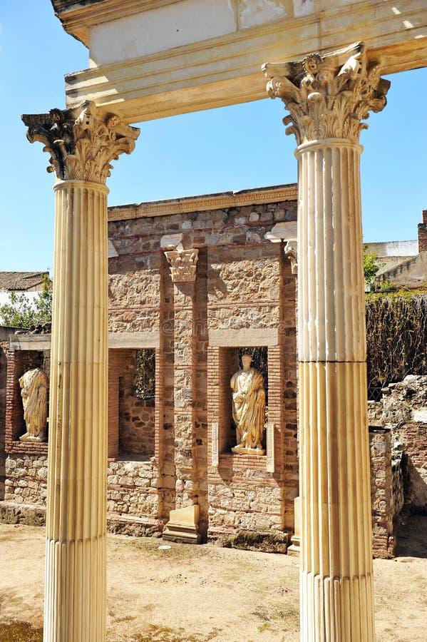 Städtischer Roman Forum von Emerita Augusta, Mérida, Extremadura, Spanien stockfoto