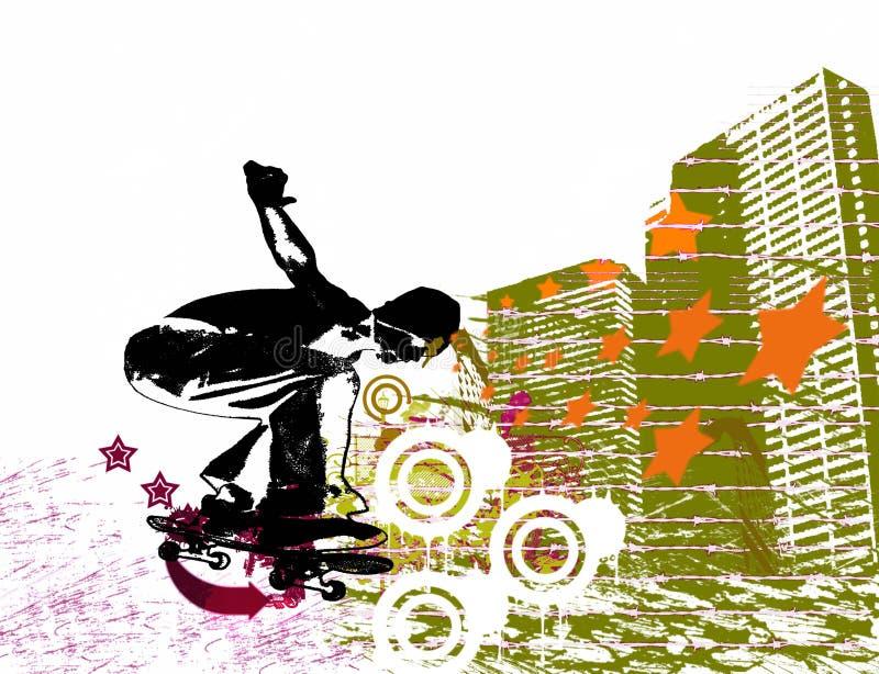 Städtischer Schlittschuhläufer stock abbildung
