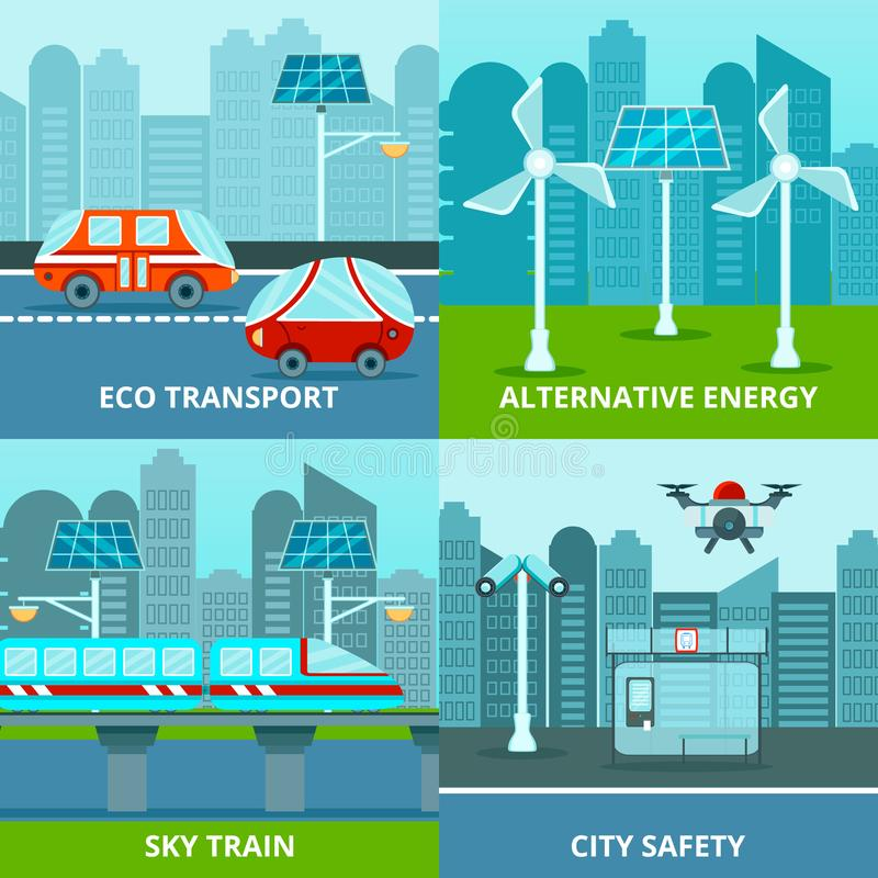 Städtisches Konzept des Entwurfes Eco stock abbildung