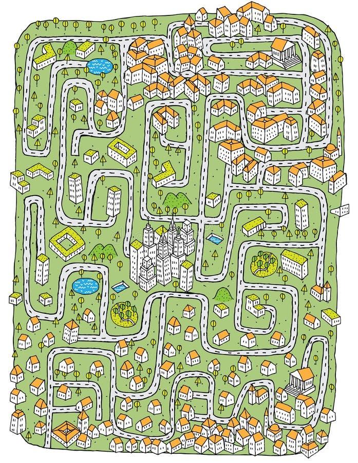 Städtisches Landschaftslabyrinth-Spiel stock abbildung