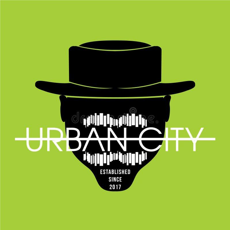 Städtisches Stadtbild für T-Shirt-Druck, Vektorgrafiken stock abbildung
