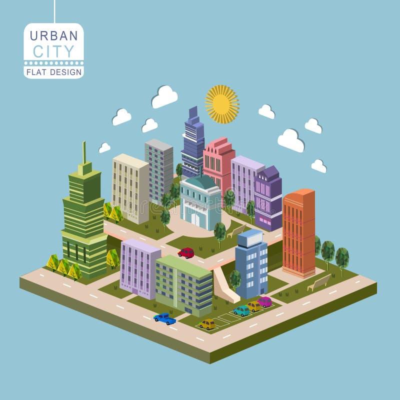 Städtisches Stadtkonzept 3d isometrisches infographic stock abbildung