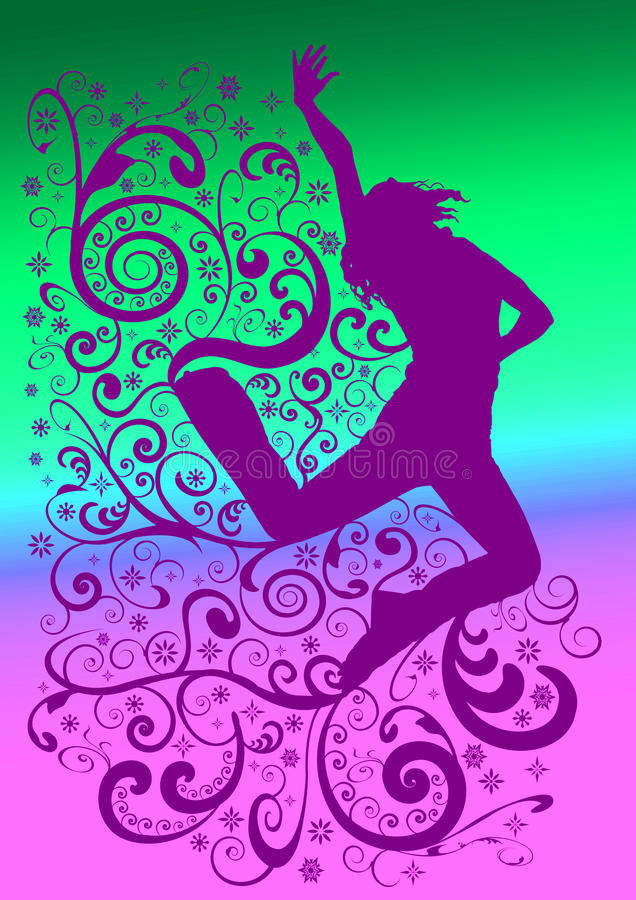Städtisches Tänzer-Schattenbild stock abbildung