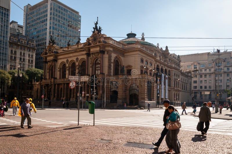 Städtisches Theater von Sao Paulo stockbilder