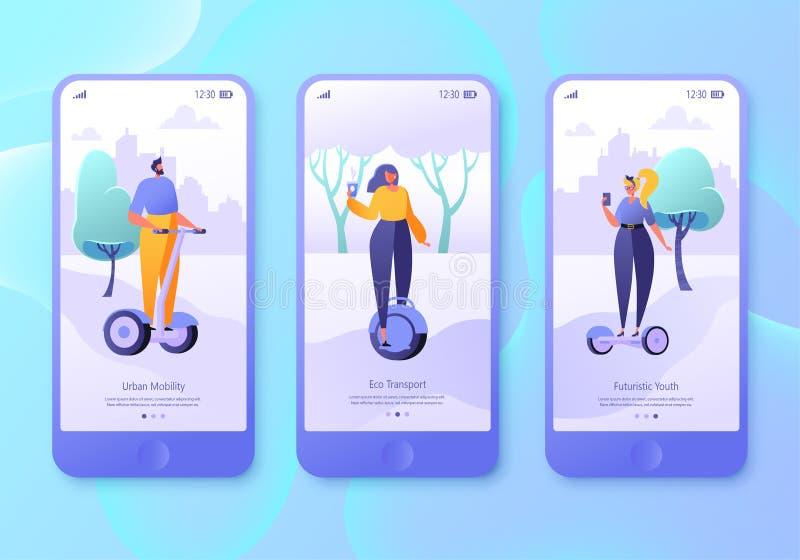 Städtisches Wochenende bewegliche Appseite, Schirmsatz Flache Entwurfscharaktere von Männern und von Frauen mit Schwebeflugbrette vektor abbildung