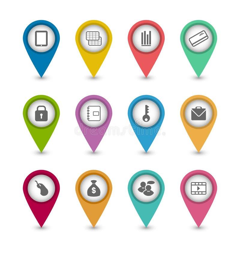 Ställ in affärspictogramsymboler för design din website stock illustrationer