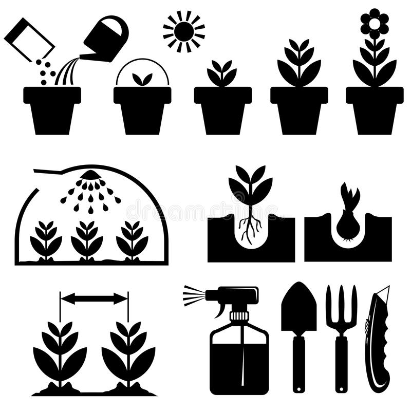 Ställ in agrotechnicssymboler royaltyfri illustrationer