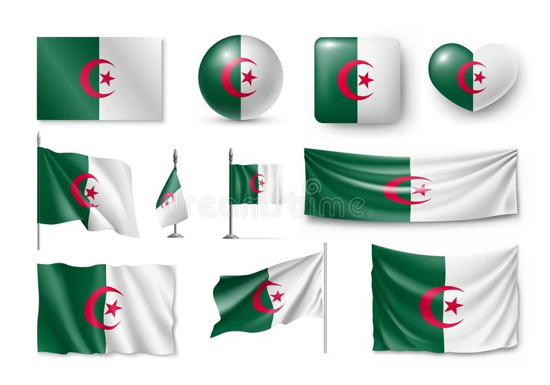 Ställ in Algeriet flaggor, baner, baner, symboler, plan symbol stock illustrationer