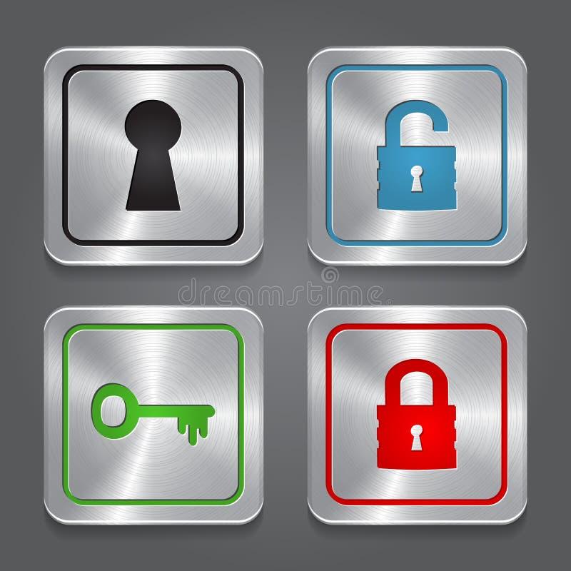 Ställ in app-symboler, metallisk samling för låsknappar. royaltyfri illustrationer