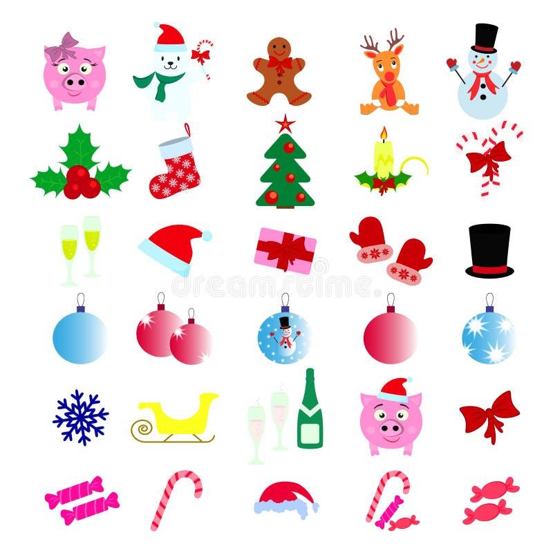 Ställ in av år för symboler för glad jul 30 lyckligt nytt vektor illustrationer
