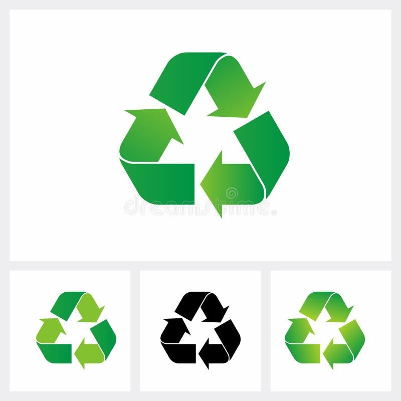 Ställ in av återanvänder symbolen Återanvänd symbolet, grön färg för eco royaltyfri illustrationer