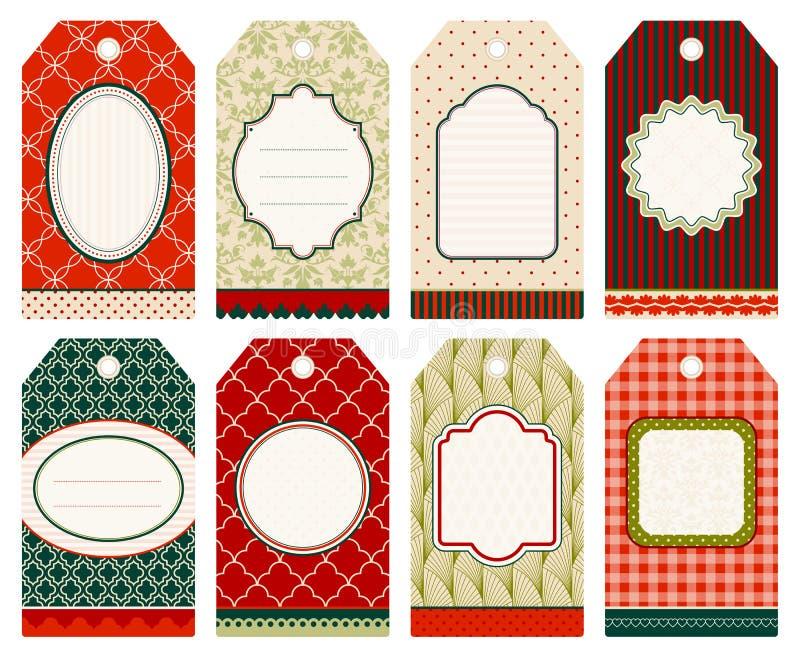 Ställ in av åtta jul som Hangtags mönstrar beige röd gräsplan vektor illustrationer