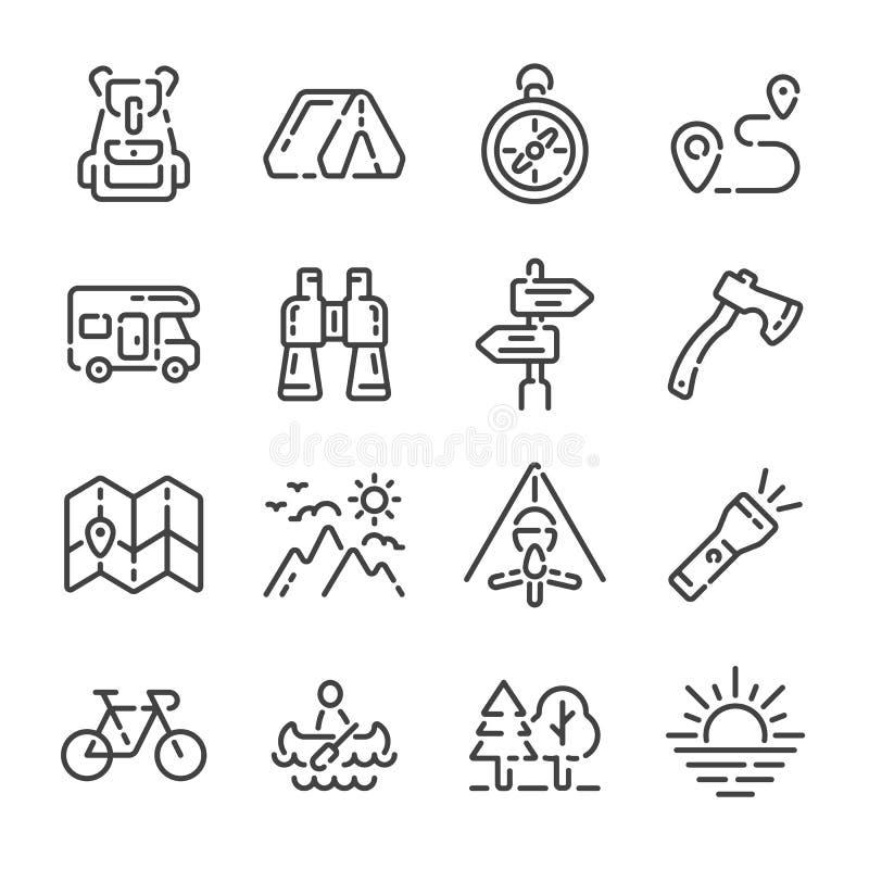 Ställ in av översiktssymboler för campa tur eller turism ocks? vektor f?r coreldrawillustration arkivfoton
