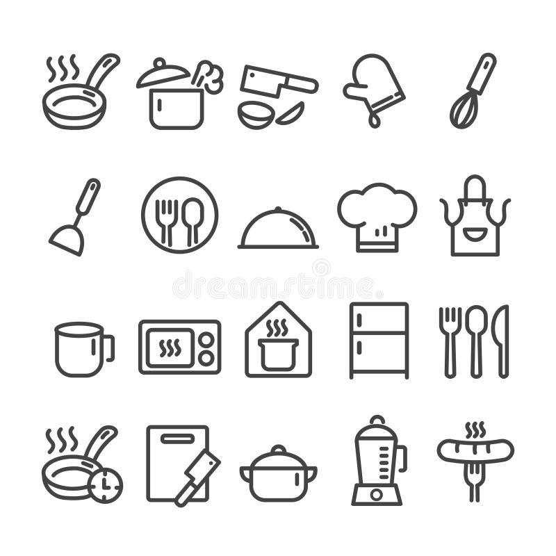 Ställ in av översiktssymboler för kökhjälpmedel och att laga mat på vit bakgrund royaltyfri illustrationer