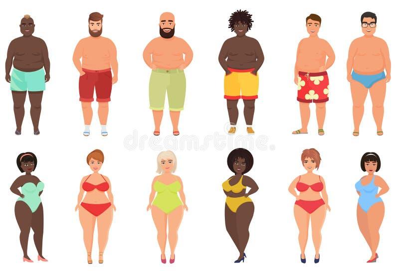 Ställ in av överviktiga feta curvy kvinnaflickor och strandman i illustration för simbassängdräktvektor stock illustrationer