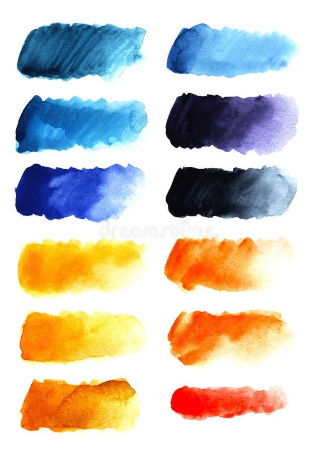 Ställ in av abstrakt bakgrund för rubrik tolv En formlös avlång fläck av gult som är röd, apelsin, blå purpurfärgad färg royaltyfri fotografi
