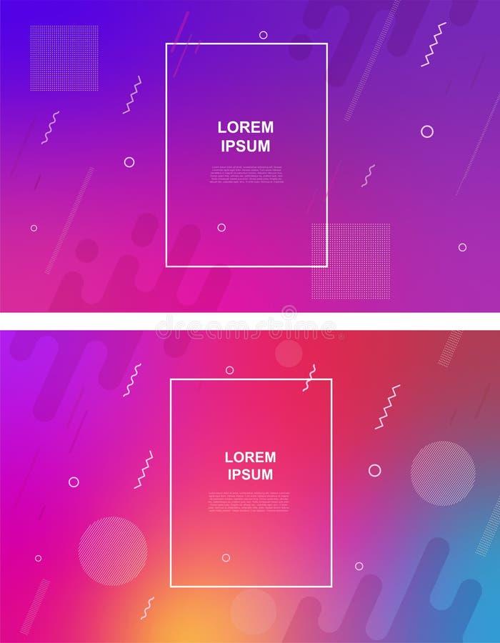 Ställ in av abstrakt minimalistic bakgrund med geometriska beståndsdelar, dynamiska former, linjer Abstrakta baner för lutning me stock illustrationer