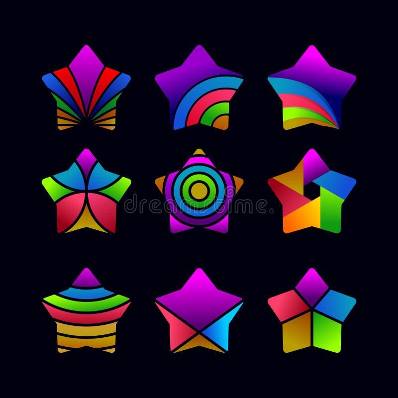 Ställ in av abstrakt stjärnavektormall vektor illustrationer