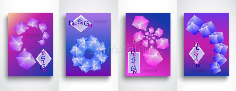 Ställ in av abstrakta bakgrunder för former 3d i A4 Idérik illustration för vektor Ljus modern abstrakt design royaltyfri illustrationer