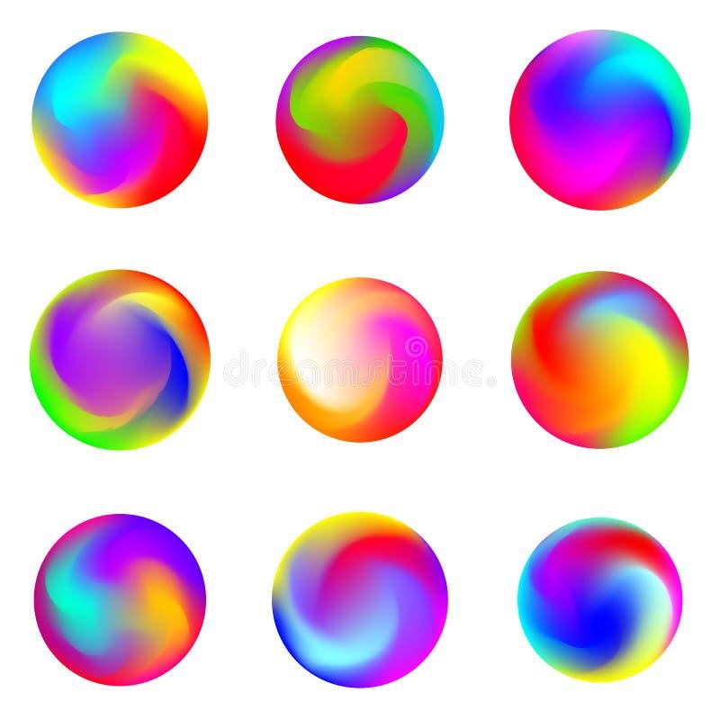 Ställ in av abstrakta färgrika lutningar Abstrakta cirklar för vektorlutning royaltyfri illustrationer