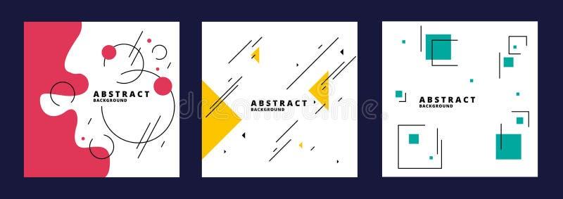 Ställ in av abstrakta geometriska bakgrunder med trianglar, cirklar, fyrkanter, former och linjer i minimalistic stil vektor royaltyfri illustrationer