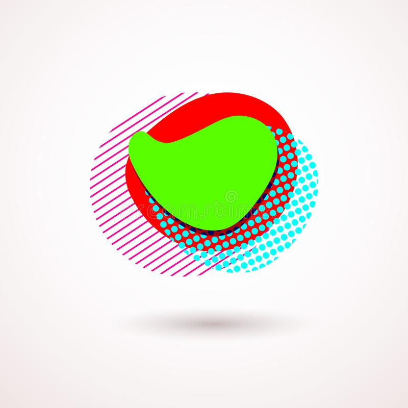 Ställ in av abstrakta moderna grafiska beståndsdelar Dynamisk kulör former och linje Abstrakta baner för lutning med former för f vektor illustrationer