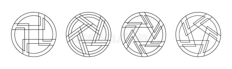 Ställ in av 4 abstrakta runda prydnader som isoleras på vit bakgrund Sakrala geometrisymboler royaltyfri illustrationer