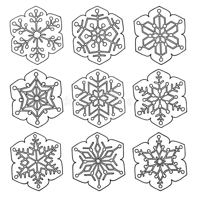 Ställ in av abstrakta sex-pekade snöflingor för vektorn royaltyfri illustrationer